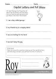 capital letters and full stops 1st 2nd grade worksheet lesson