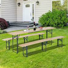 aosom outsunny 7ft wooden folding picnic table set with benches