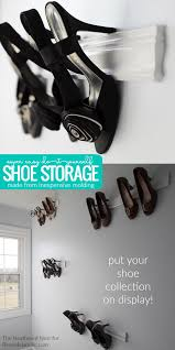 Diy Molding by Remodelaholic Easy Diy Molding Shoe Storage For High Heeled Shoes