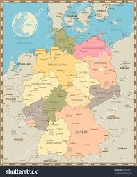 Germany Physical Map by Old Vintage Color Map Germany Vector Stock Vector 422619523