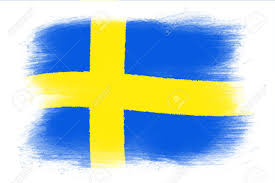 Blue And Yellow Cross Flag The Swedish Flag Painted Grunge Flag Brush Strokes Isolated