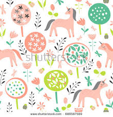 Design Patterns For Cards Deer Fox Spring Flowers Seamless Pattern Stock Vector 552941530