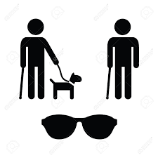 Blind People Stick Blind Man Icons Set With Guide Dog Walking Stick Royalty Free