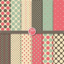 polka dot digital paper pack vintage digital paper clip retro