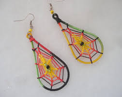 reggae earrings vintage embroidered earrings etsy