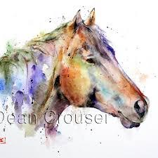 colorful horse watercolor print dean crouser