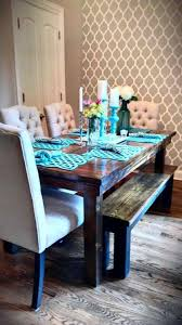 parsons chairs with button tufted and rustic dining table and