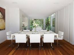 Acrylic Dining Room Table White Modern Brushed Chrome Legs Dining Chairs Minimalist Dining