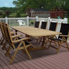Dining Room Set With Royal Chairs Royal Teak Collection Florida 8 Person Sling Dining Set W 118