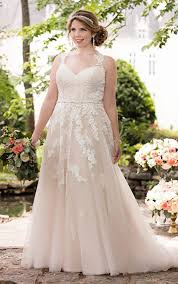 wedding dresses plus size picture of blush lace applique v neck wedding dress with lace straps