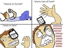 Meme Phone Falling On Face - image 133087 text in bed drop phone on face know your meme