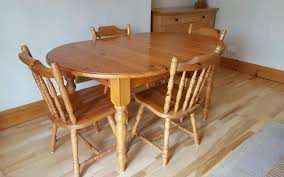 Extendable Oval Dining Table Solid Pine Extendable Oval Dining Table And Matching 6 Chairs In