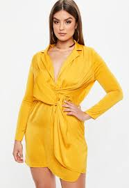 yellow dress curve mustard yellow satin twist dress missguided