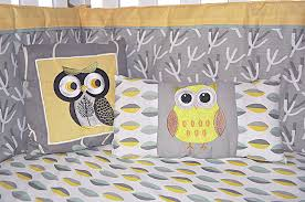 Grey And Yellow Crib Bedding Dk Leigh Owl 7 Gender Neutral Crib Bedding Set
