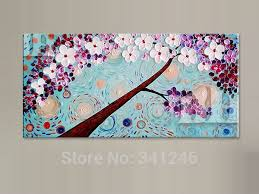 cherry home decor hand painted modern home decor wall art picture purple white