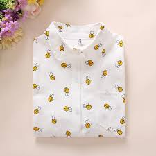 womens cotton blouses white cotton blouses bee print blouse with pocket