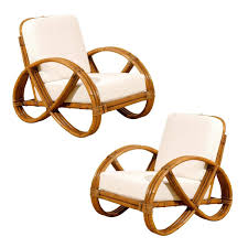 restored pair of vintage rattan pretzel lounge chairs modern