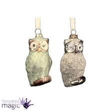 owl item gisela graham glitter glass owl green silver christmas bauble tree
