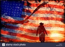 Cowboys Flag Illustration Of A Cowboy At Sunset With An Eagle And American Flag