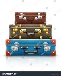 Suitcases Old Retro Vintage Suitcases Bags Pile Stock Vector 415517278