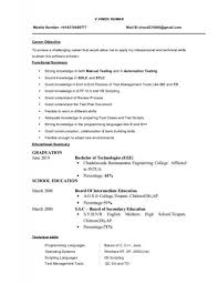 Software Testing Resume Samples by B E Eee Fresher Resume Format Contegri Com