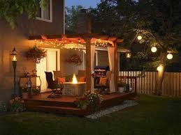 inset deck lighting on wooden deck floor outdoor table ls