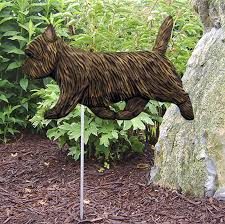 cairn terrier outdoor garden sign painted figure black