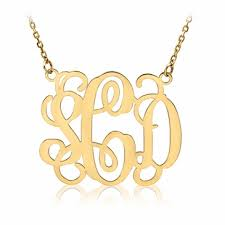 gold plated monogram necklace 14k yellow gold plated monogram necklace