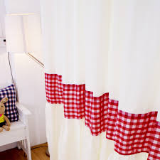 red white plaid country curtains for living room