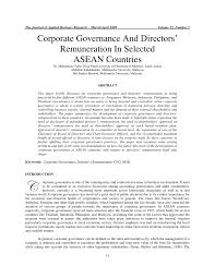corporate governance and directors u0027 remuneration in selected asean