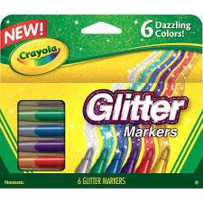 amazon com crayola glitter markers 6 count toys u0026 games