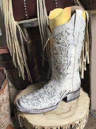 corral a3397 white glitter inlay u0026 crystal sq toe ladies boot