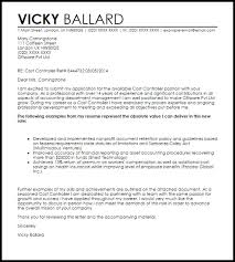 material controller cover letter