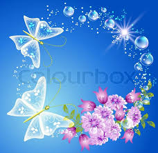 butterfly and flowers stock vector colourbox