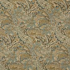 Blue Damask Upholstery Fabric Beige Blue And Gold Large Scale Floral Or Paisley Pattern Damask