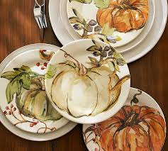 harvest pumpkin salad plates set of 4 pottery barn