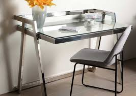 le bureau design bureau design chrome et verre amadeus 129435 d magasin de
