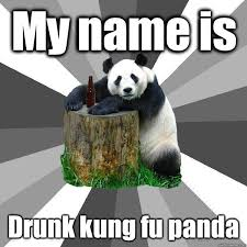 Meme Kung Fu - my name is drunk kung fu panda pickup line panda quickmeme