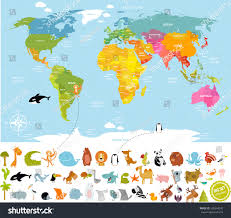 Antarctica World Map by Vector Illustration World Map Children Lots Stock Vector 530594242