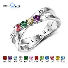 mothers rings images Family friendship ring engrave names custom 4 birthstone 925 jpg