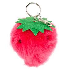 strawberry pom pom scented key ring s us