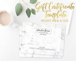gift cards for small business marble gift certificate card template photoshop template