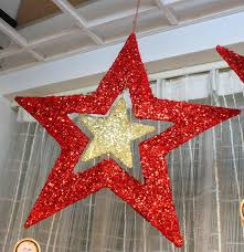 40cm glitter stars hanging high quality christmas decorations