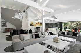 grey black and white living room interior grey sofa completed with black and white cushions and