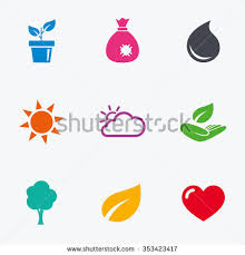 Tree Symbols Garden Sprout Leaf Icons Nature Weather Stock Illustration