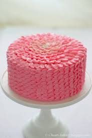 i heart baking pink ruffle flower chocolate mousse layer cake