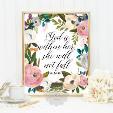 Scripture Wall Art Home Decor by God Is Within Her She Will Not Fall Psalm 46 5 Bible Verse