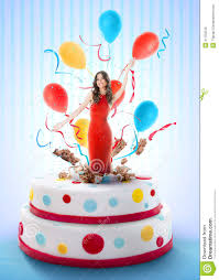 cake birthday beautiful woman jumping out of the cake stock photo image 41762243