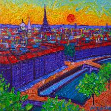 paris painting vibrant paris at dusk view from notre dame tower palette knife oil painting
