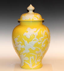 yellow vase antique japanese carved studio porcelain yellow covered urn vase